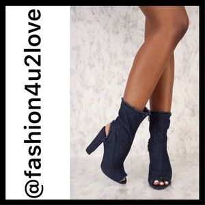 Dark Blue Distressed Denim Chunky Heel Booties